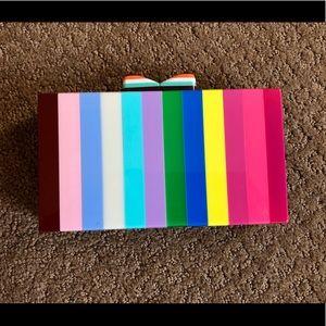 Handbags - NWOT Acrylic Striped Box Clutch w/ Crossbody Strap